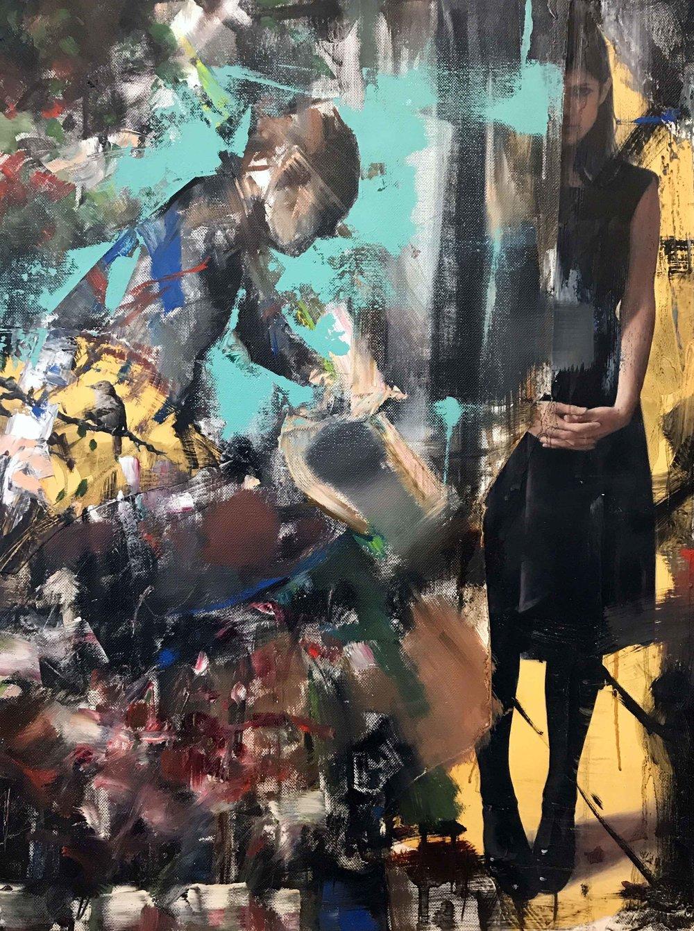 Columbus Phwaff, oil, chalk, glue on linen, 2017