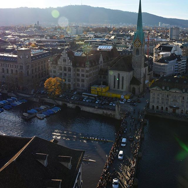 Two eights racing in the heart of zurich #eth vs #uzh