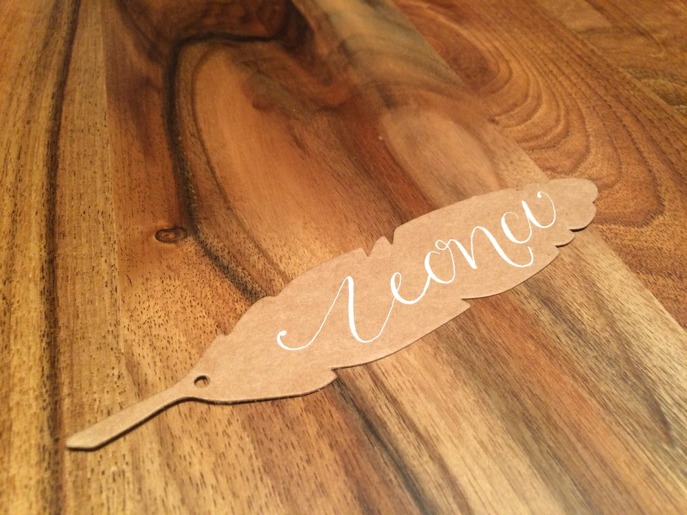 Elegant and pretty feather place name - also great for present tags.  Prices start from £1.00 per item.