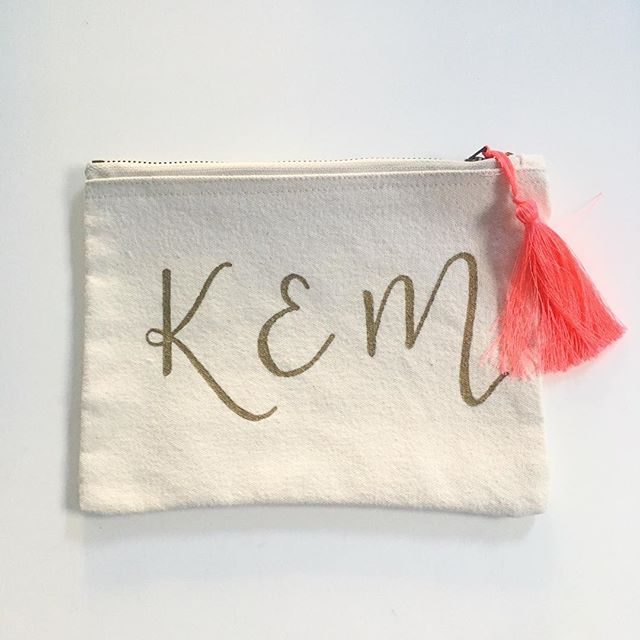 Personalised Pouches - now with neon tassels 👛 what would you request - initials / destination / name / bride / event ?!