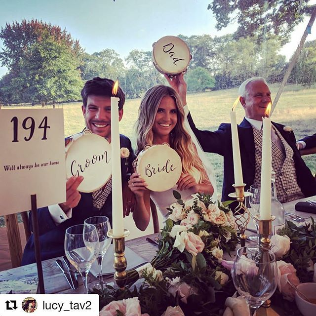 I loved painting these tambourines knowing what fun they were going to have at this wedding 🎩 👰🏼 thank you to Bertie & @lucy_tav2 and huge congratulations 🍾🥂#totavandtohold2018 #weddingtambourine #tambourines #weddinginspo #handlettering #personalised #bride #groom