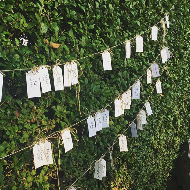 The perfect use for a garden hedge 🌿 these escort cards looked stunning and were a great talking point ✨  #handlettering #escortcards #moderncalligraphy #calligraphylondon #eventinsp #weddingdesign #mrandmrs #gardenwedding #englishwedding