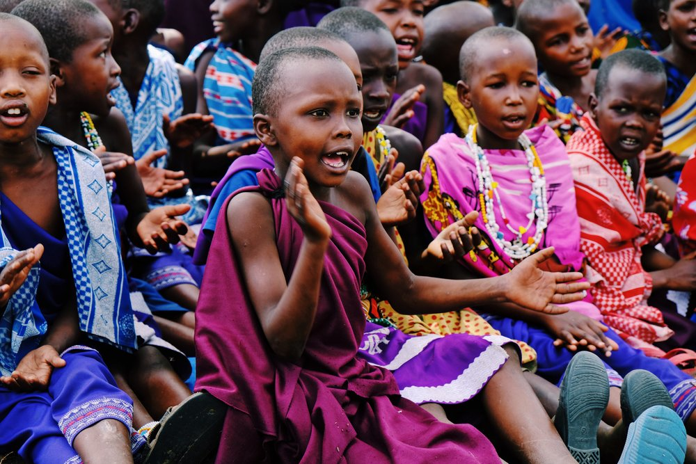 Masai girls clap and sing in Kilindi, Tanzania.JPG