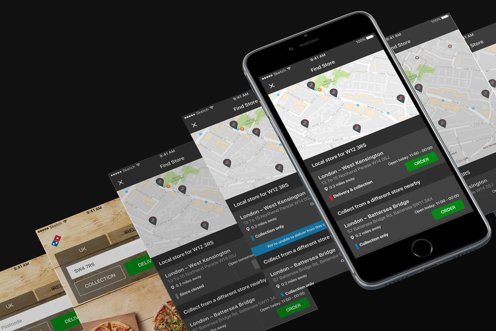 The entire store finding journey was rethought to give users choice when selecting a store to order from.