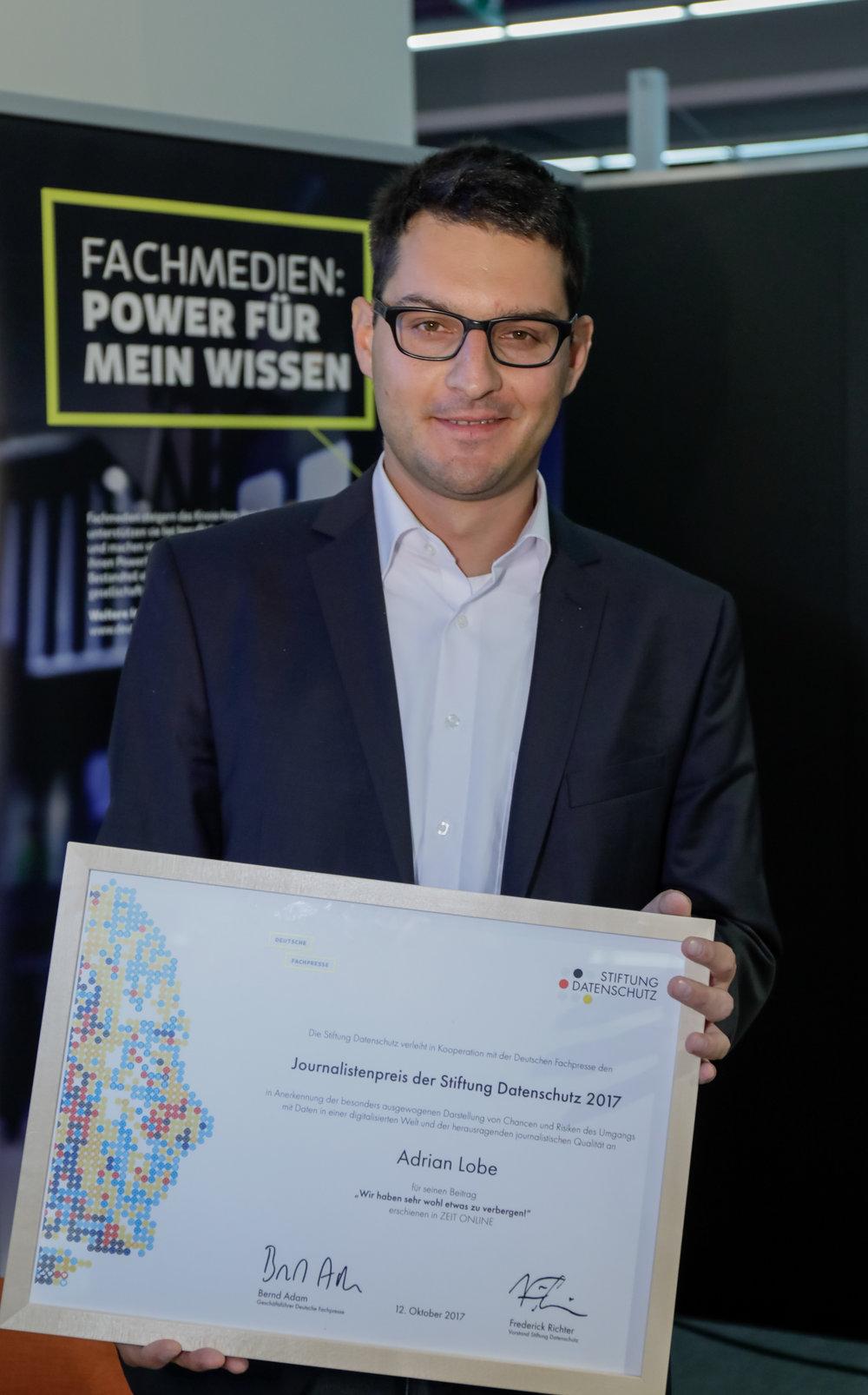 Adrian Lobe, Journalist und Preisträger des Journalistenpreises der Stiftung Datenschutz