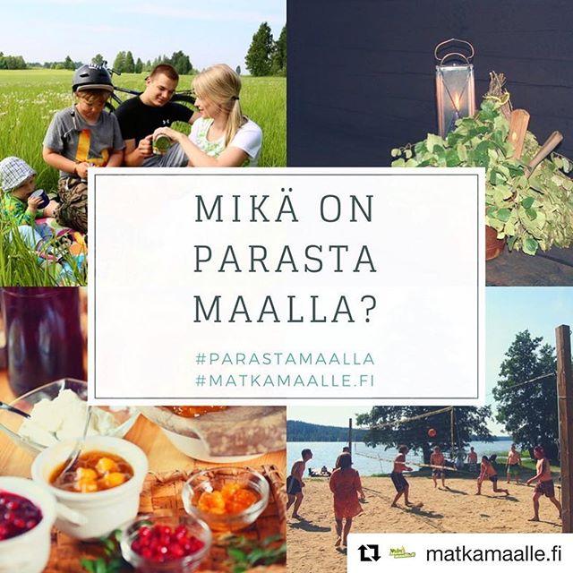 @matkamaalle.fi ・・・ Matkamaalle.fi kesäkisa Instagramissa: Mikä on parasta maalla?  Osallistu kuvakilpailuun postaamalla kuva siitä, mikä sinun mielestäsi on parasta maalla. Oli se sitten saunahetki, mökkeily, makkaran grillaaminen, yhdessäolo tai maatalousmessut - mielikuvitusta saa käyttää! Postaa kuva Instagramiin ja tägää siihen#ParastaMaalla#MatkaMaalle.fi6.8.2018 mennessä. Arvomme kaikkien osallistujien kesken yhden 150€ lahjakortin vapaavalintaiseen Matkamaalle.fi -yritykseen. Voittajalle ilmoitetaan henkilökohtaisesti, eikä palkintoa voi muuttaa rahaksi.  Lue kilpailun säännöt: http://www.matkamaalle.fi/kilpailut-evasteet/