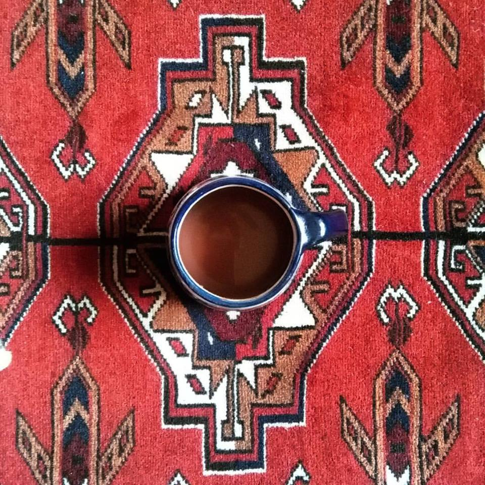 Cup Of Cacao On An Indian Carpet