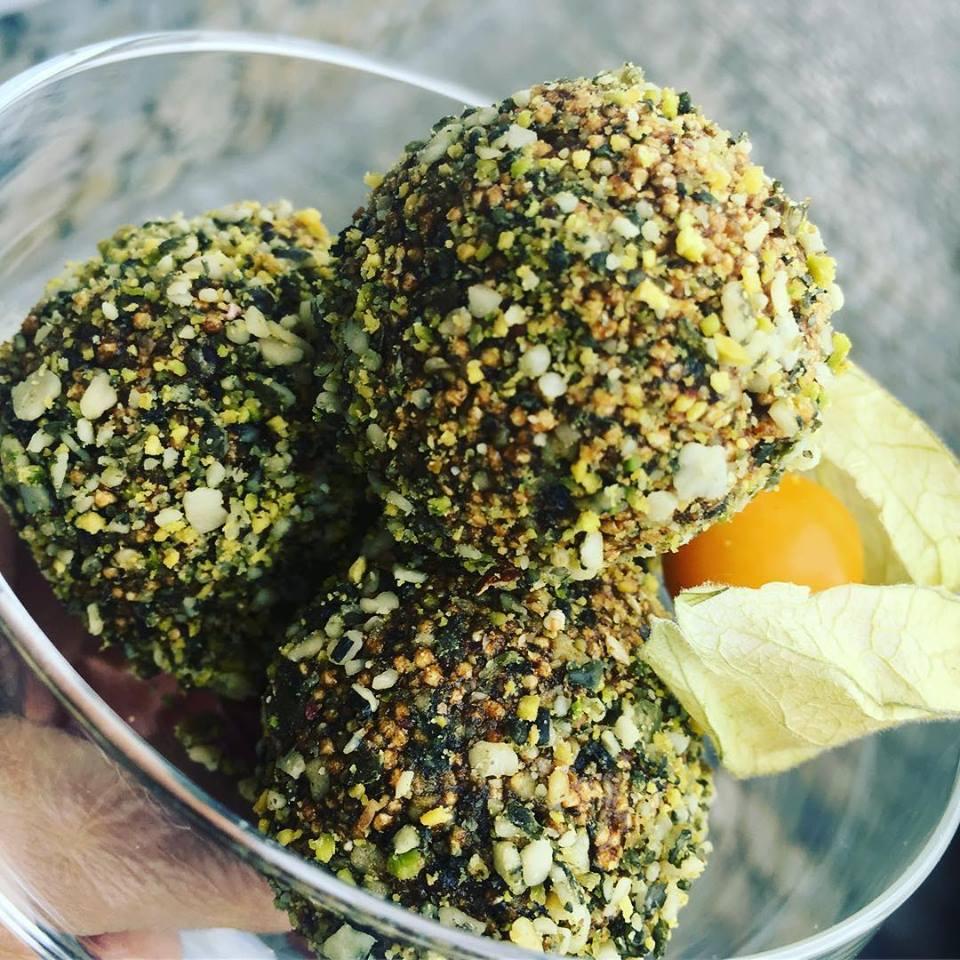 - Raw Vegan Dessert with pistachio, amaranth, persimmon & turmericPhoto Credit: Simone