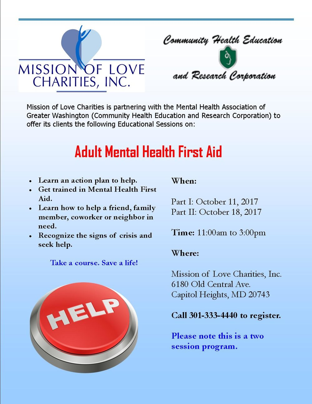 Mental Health First Aid Part Ii Mission Of Love Charities Inc