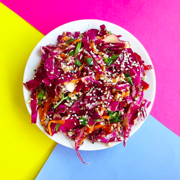 (dairy free)    red cabbage, carrots, quinoa, extra virgin olive oil, soy sauce, rice wine vinegar, honey, sesame oil, sesame seeds, spring onions, salt & pepper