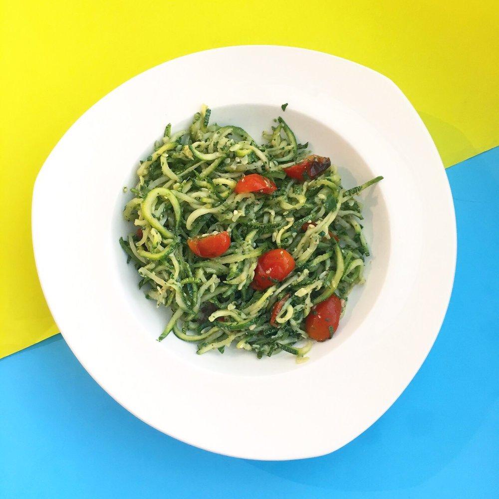 (gluten free, soy free)     zucchini, kale, basil, almond, parmesan cheese, garlic, olive oil, cherry tomato, salt & pepper