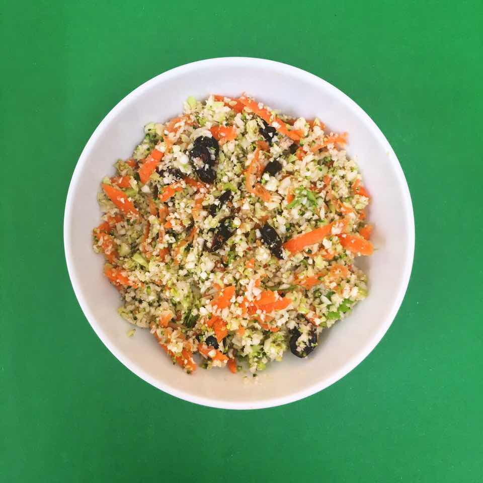 (gluten free, dairy free, nut free, soy free)     broccoli, cauliflower, carrot, cranberry, lime, cilantro, sunflower seed, salt & pepper