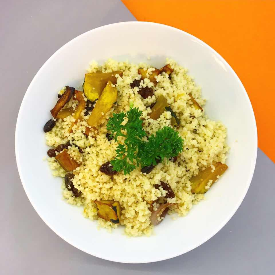 (dairy free, nut free, soy free)     pumpkin, couscous, red onion, raisin, honey, balsamic vinegar, salt & pepper