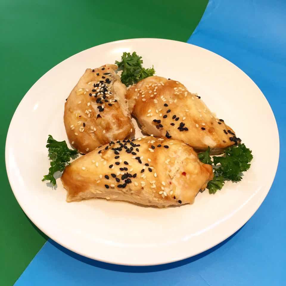 (dairy free, nut free)     chicken breast, apple sauce, soy sauce, garlic, ginger, onion, sesame oil, sesame seed, salt & pepper