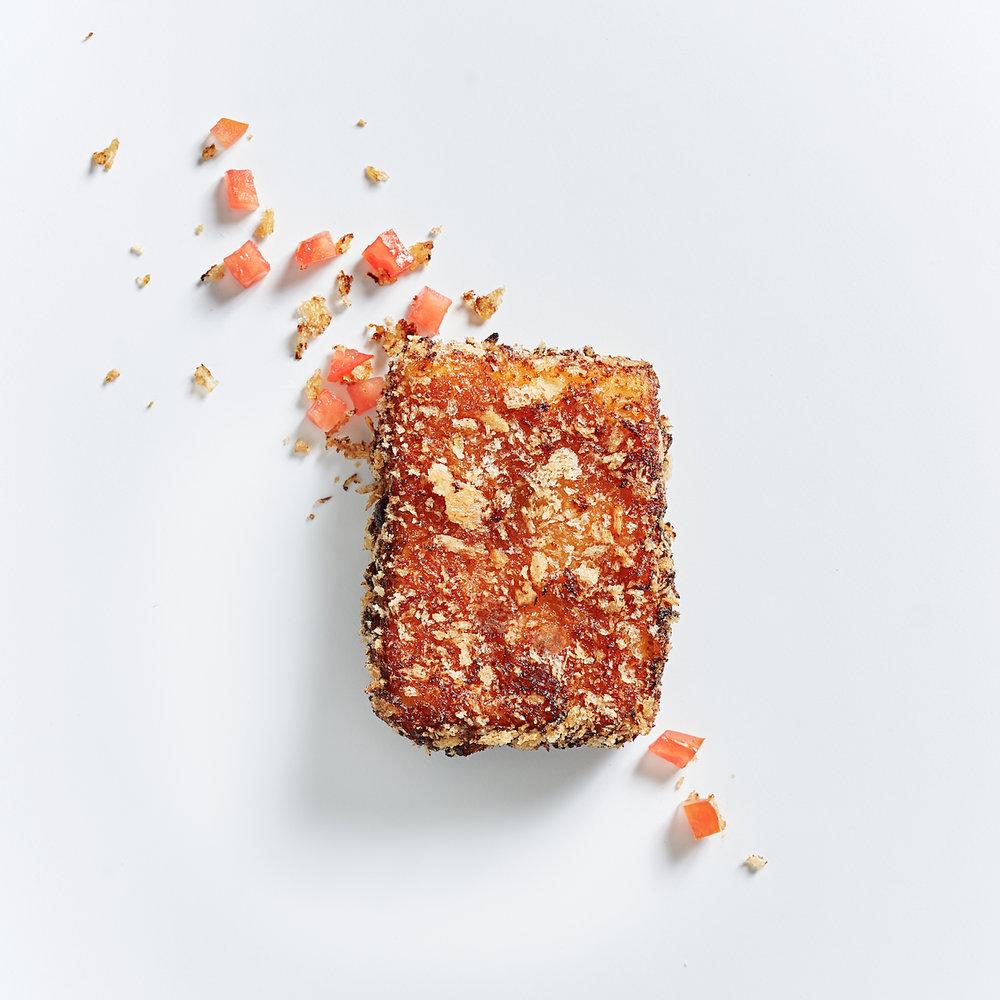 Sweet & Sour Tofu - (dairy free, nut free)tofu, garlic, ketchup, dijon mustard, soy sauce, honey, chili flakes, panko flakes, plain flour