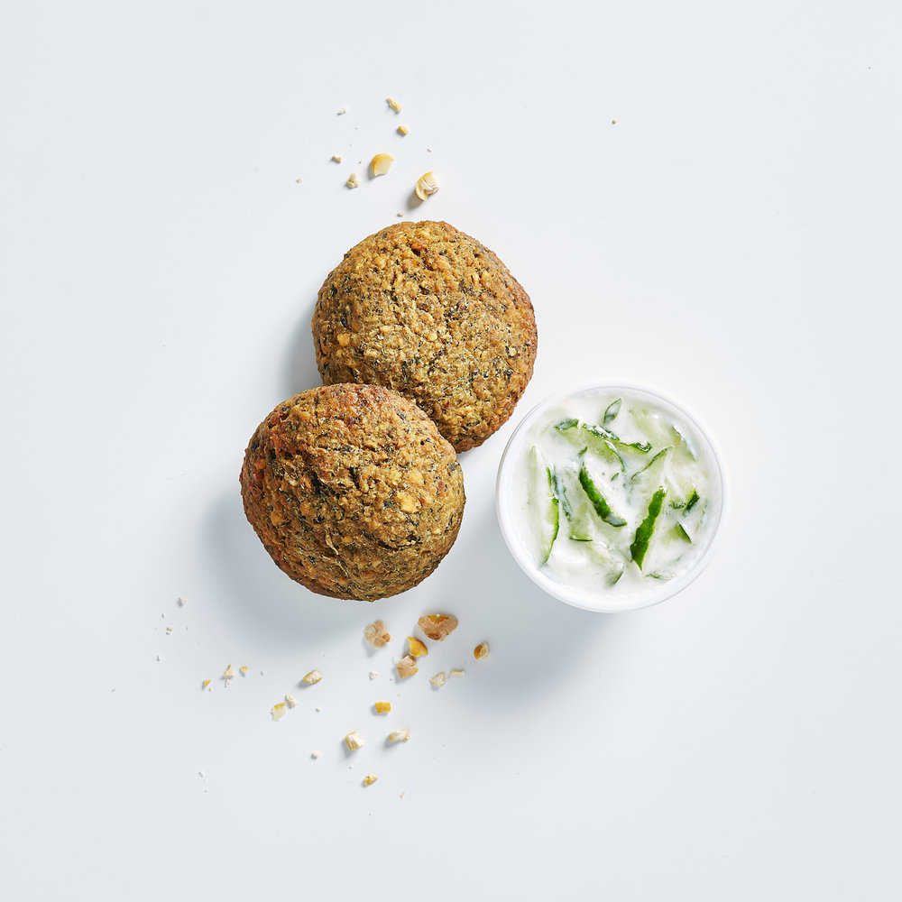Baked Falafels - (dairy free, nut free, soy free)chickpea, garlic, onion, plain flour, baking powder, parsley, coriander, olive oil, salt & pepperDip made from yogurt, garlic & cucumberrequest without dip for Vegan + Dairy Free option)