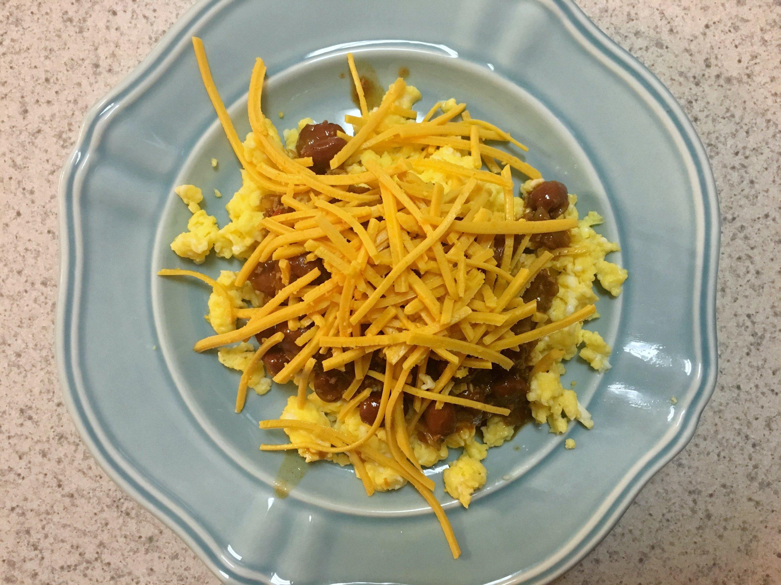 Scrambled eggs with chili