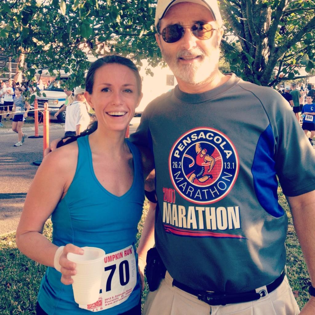 Dad and I post race at Great Pumpkin Run Pensacola