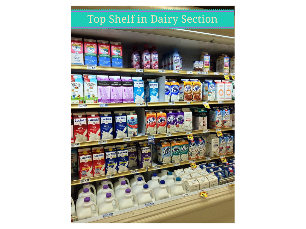 Top Shelf in Dairy Section