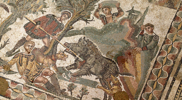 Just one of dozens of panels in a huge floor. This one depicts a boar hunt.
