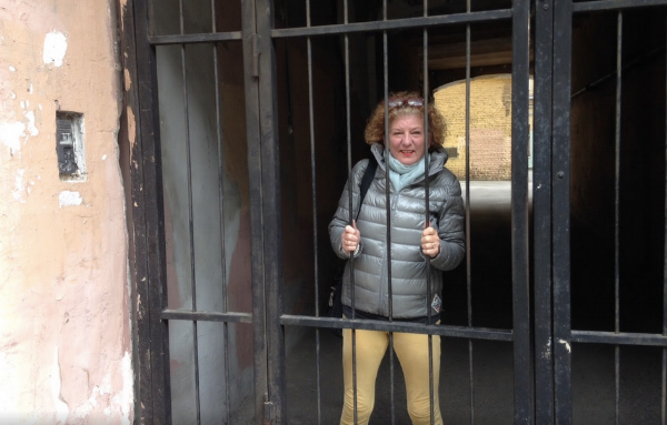 At the entrance to our Airbnb building in St. Petersburg - please let me out of here!
