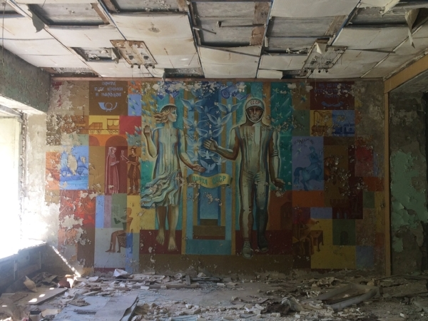Just one of the eerie, abandoned places we walked through in Chernobyl.