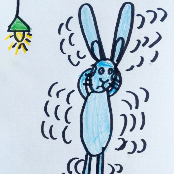 This drawing of a stressed out rabbit by granddaughter Colette, 6,  looks just like Grandpa Michael at the airport!