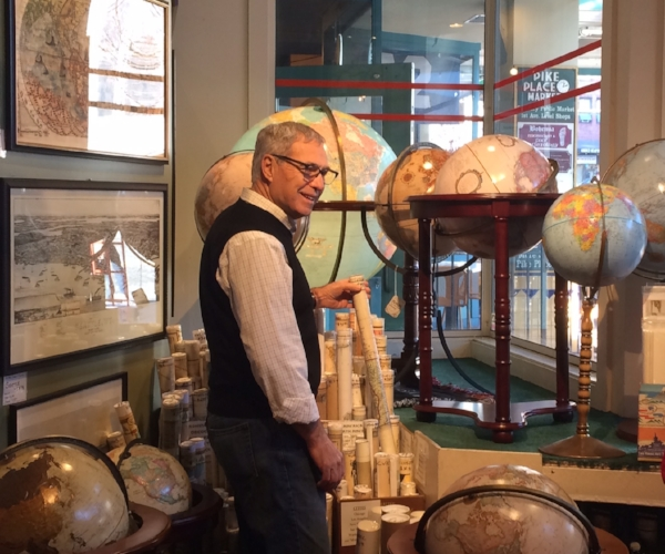 Having fun at Metsker Maps in the Pike Place Market. A travelers dream store.
