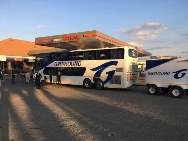 The Greyhound bus looked better in the sunshine. Even buses have to stop for gas.