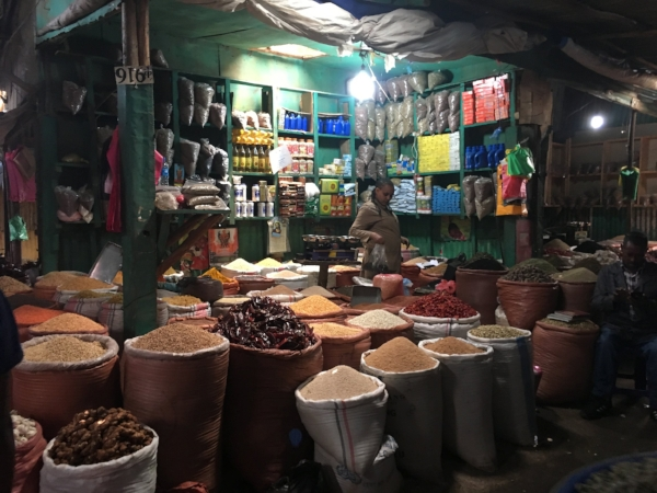 The labyrinth of the central market where fragrant sacks of coffee, grain, and spices filled every corner.