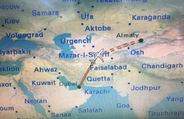Keeping track of our flight from Dubai to Almaty, Kazakhstan. Where?