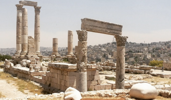 The crumbling Citadel towered above Amman, and a massive Roman Amphitheater sat below.