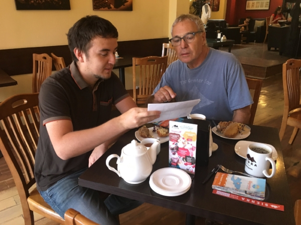 Meeting Azamat made all the difference. He showed us every corner of the city and beyond. This first meeting was at Sierra Coffee, a great hangout owned by an American that soon became our second home.