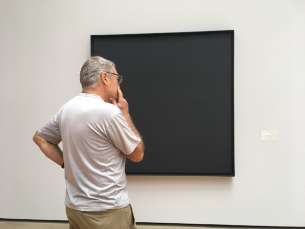 Pondering modern art (?) at the Stuttgart National Gallery.