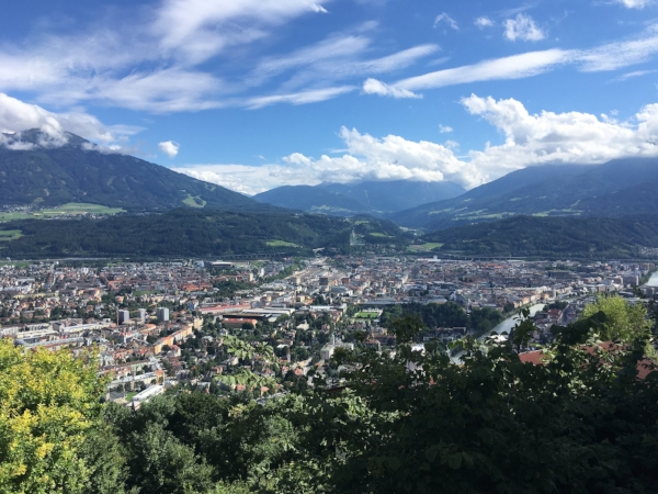 The view back towards Innsbruck from half way up the mountain.