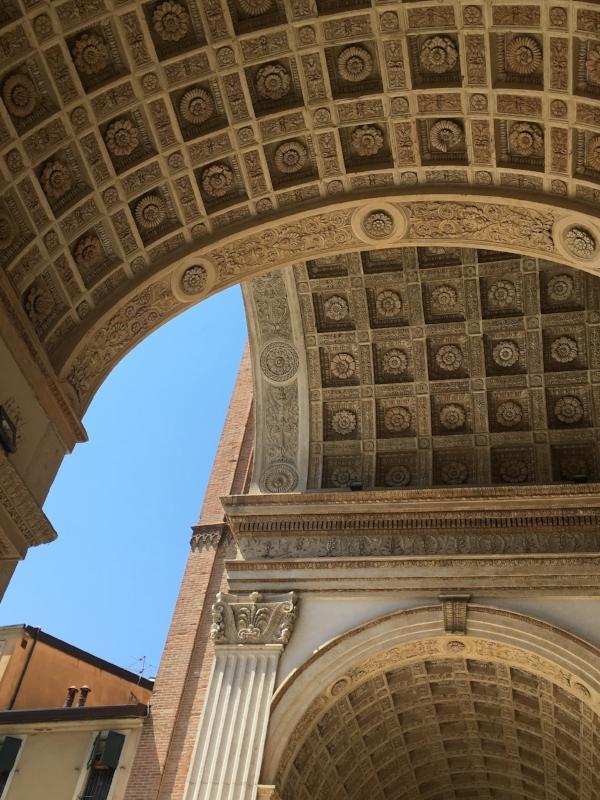 The actual carved facade of Basilica di Sant'Andrea in Mantua.