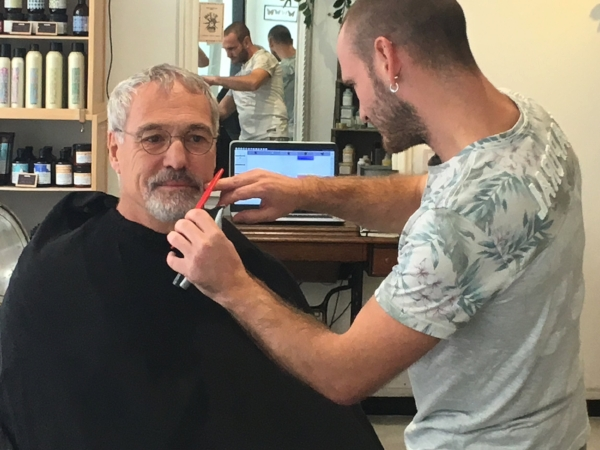 First beard trim by a hip young barber near our flat in Paris.