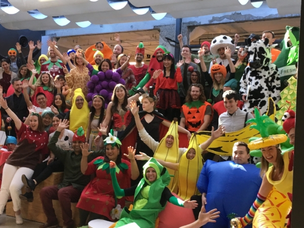 Who wouldn't want to hang out with this bunch? Fruit and Veg was the Halloween costume theme for the third floor where we sit - not pictured are the many dogs, also in costume.