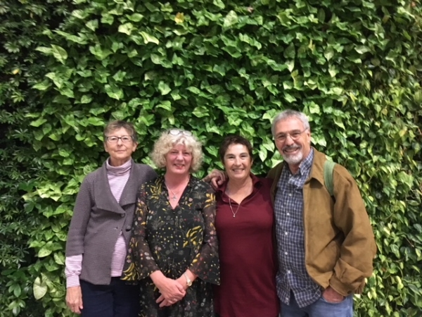 Here we are in front of Airbnb's green wall with cousin Julie next to MIchael and her wife Janice. They live in San Rafael and came in for a tour and dinner in Chinatown.