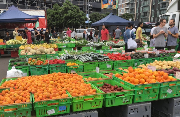 The Harbourside Market in Wellington offered bins full of fresh fruit & veg along with a long row of food vendors and at least five different coffee carts.