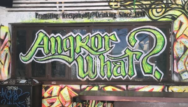 "This graffiti in Pub Street inspired me to think of a few alternative titles for this blog like ""Angkor Management"" or ""Temple Tantrums!"""