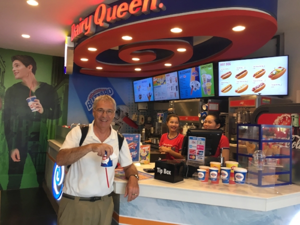 Michael doing the famous Dairy Queen upside down  Blizzard Test . So thick it defies gravity. Watch the video!