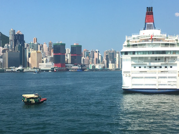 There is room in Hong Kong harbor for everyone - here's a local water taxi returning cruise ship passengers.