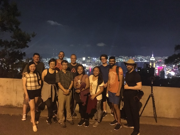 "Our fellow ""night hikers"" as we neared the summit of ""The Peak"" in downtown Hong Kong."