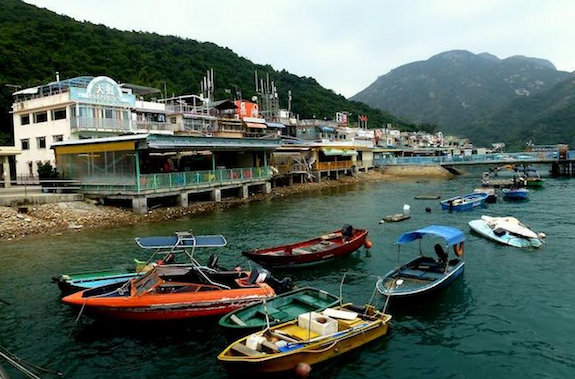 The waterfront of So Kwu Wan, a charming fishing village on Lamma island.