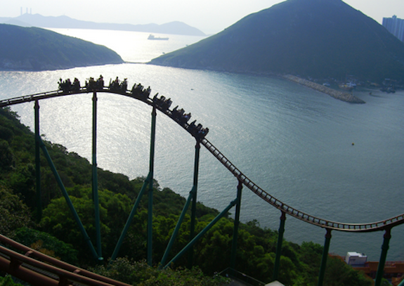 We passed this actual roller coaster in Ocean park while riding in a roller coaster of a bus ride to the seaside town of Stanley.