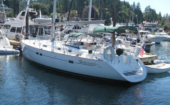 Our sailboat Butterscotch in the Roche Harbor Marina. One of our favorite places on earth.