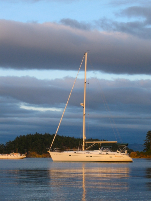 Anchored in the bay off of Sucia Island in the San Juan Islands near the USA - Canada border.