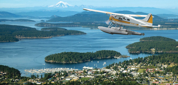 The real wings over Washington! Take a  Kenmore Air  float plane from Lake Union to the San Juan Islands or Victoria, Canada. It is an awe-inspiring experience.