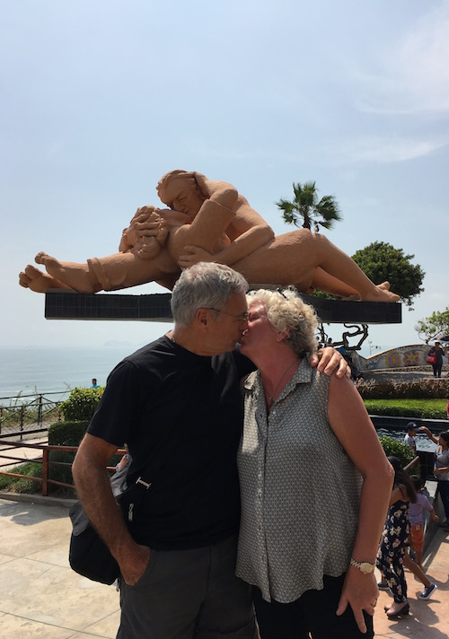 """""""When in Lima, do as the Limans do"""". Stop for a kiss in front of the """"El Biso"""" statue."""